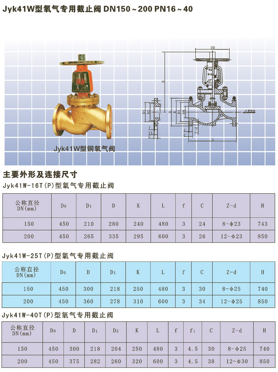 Jyk41W型氧氣專用截止閥